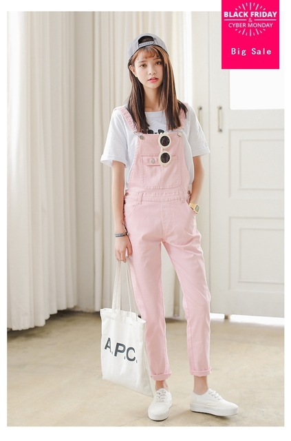 a3bad1a53ba7 Free Shipping 2018 Summer Spring Denim Jumpsuits Women s Overalls Pants  Ladies  Jeans Candy Color