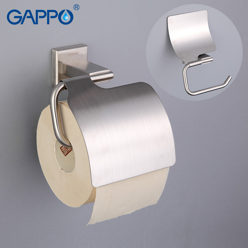 GAPPO Paper Holders Cover Roll Toilet Paper Holders Stainless Steel Roll Paper Hanger With Cover Bathroom Accessories Wall Mount