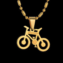 Trendy Bicycle Pendant Necklace For Women Gold Color Femme Necklace With Bead Chain Necklace(China)