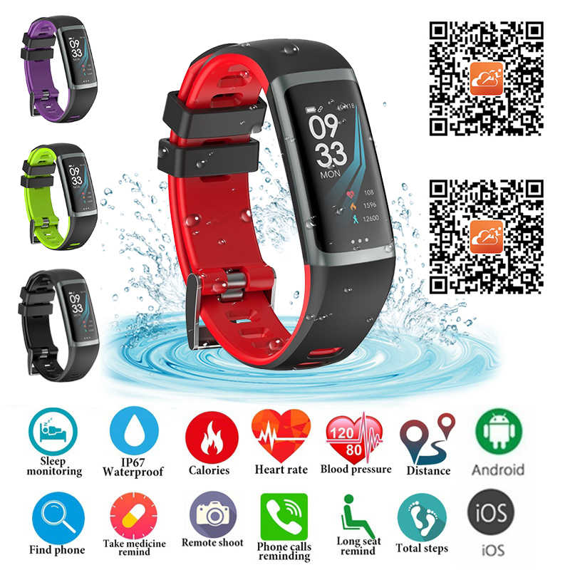 Fitness Beacelet Smart Wristband Blood Pressure Heart Rate Monitoring Sport Pedometer Smart Band IP67 Waterproof Smart Watch Men