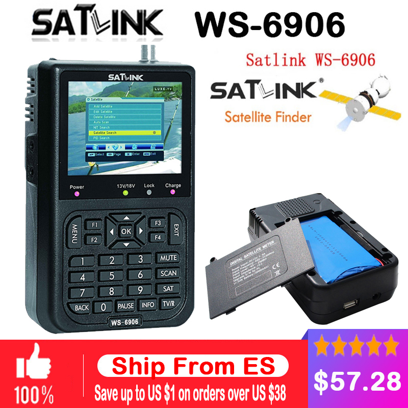 Original Satlink WS-6906 3.5 inch LCD DVB-S FTA Digital Satellite Signal WS 6906 satellite Finder WS6906 Meter free shipping