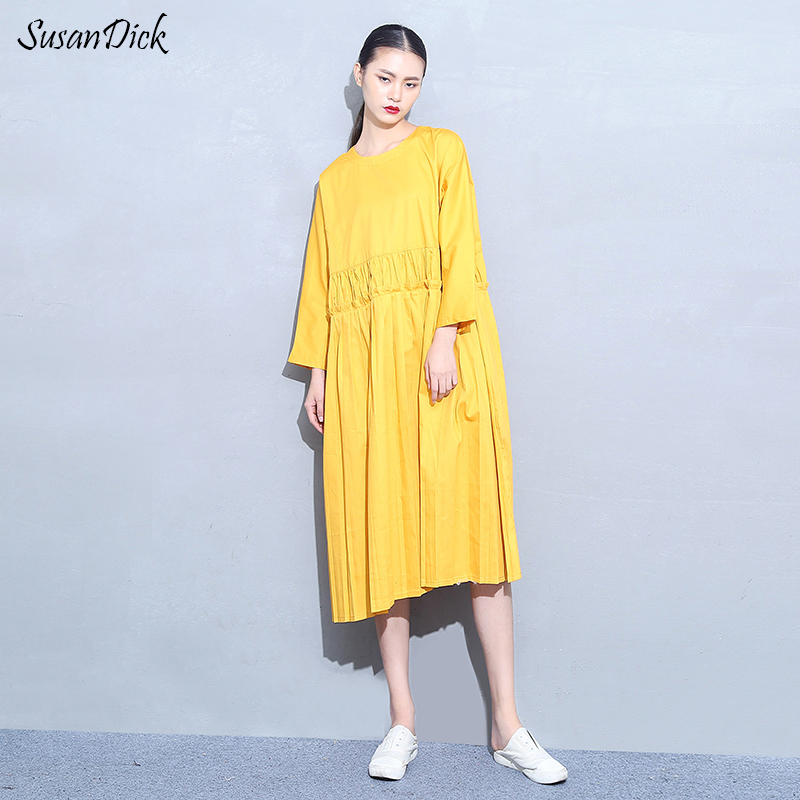a01ac383c1bf SusanDick New Brand Yellow Dress Original Design Brief Loose Style Casual  Long Shirt Dresses Women Clothing Winter Cotton Dress