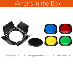 Image 2 - Godox BD 04納屋のドアハニカムグリッドと4色ジェル(赤黄青緑)