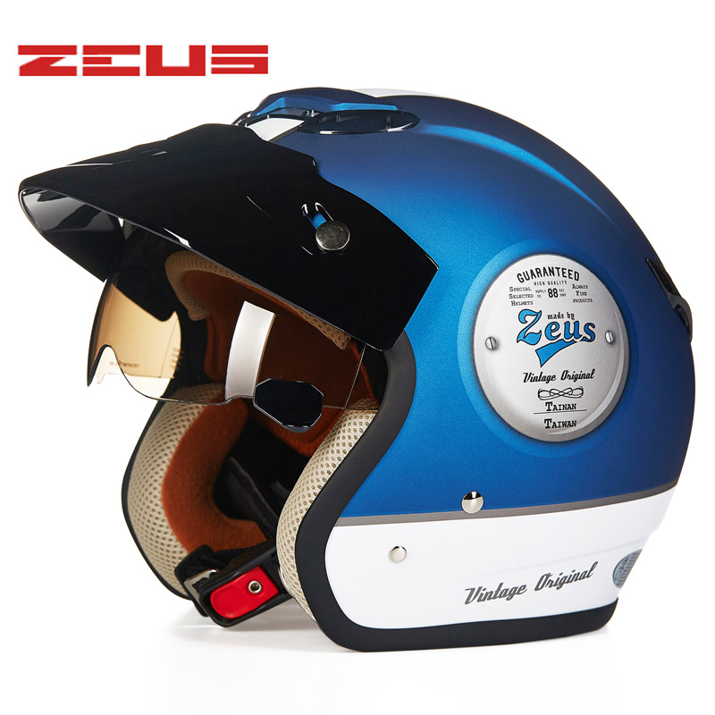 все цены на ZEUS NEW 3/4 Helmet Motorcycle Helmet Retro Moto Casco Scooter Capacete Open Vintage Face With Sunglasses Helmet DOT онлайн