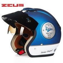 ZEUS nuevo 3/4 Casco motocicleta Casco Retro Moto Casco Scooter Capacete Open Vintage Face con gafas de sol Casco DOT