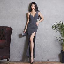 Женское вечернее платье без рукавов с высоким разрезом женское