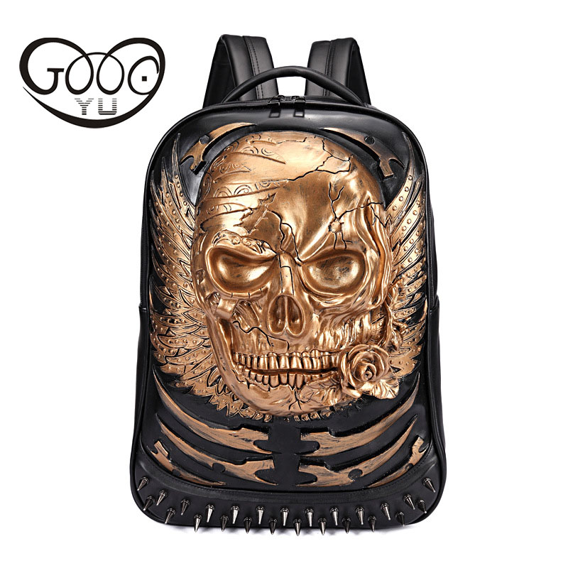 GOOG.YU New leather backpacks men 3d skull head laptop backpack women Embossed three-dimensional decoration luggage bag