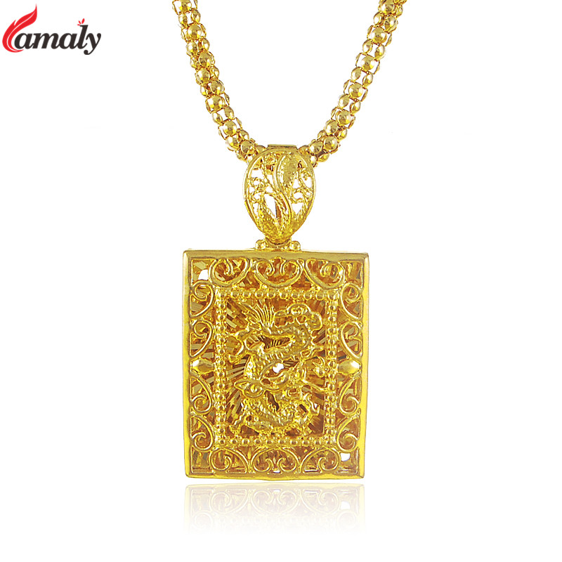 Chinese Dragon Pendant with 26 Inches Link Chain Necklace For Men Women Pure Gold Color Unisex Jewelry Maxi Chokers