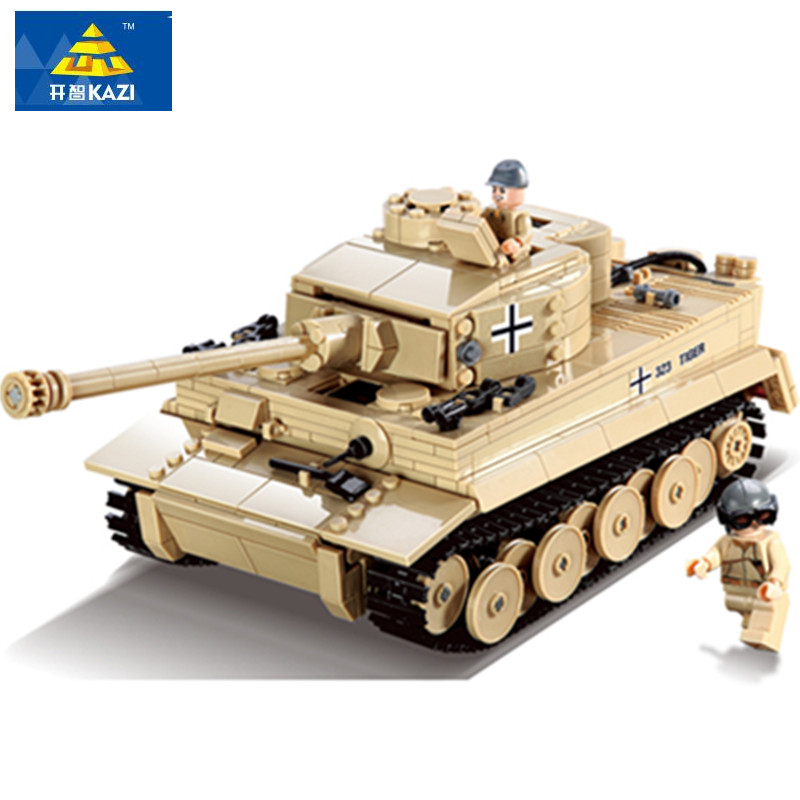 цена на 995pcs LegoINGs Military German King Tiger Tank Cannon Building Blocks War Soldiers Weapon Bricks Educational Toys for Children