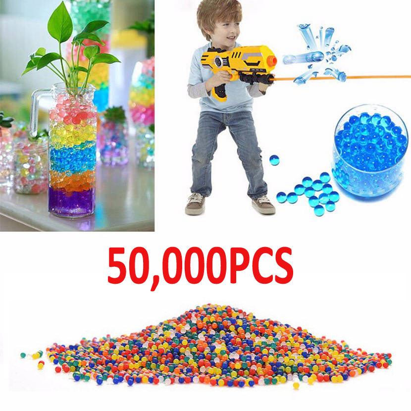 50000pcs/lot Water Crystal Bullet Paintball Gun Bullet Arme Pistol Toy Colorful Crystal Mud Soil Arma Outdoor Orbeez Toy Kids