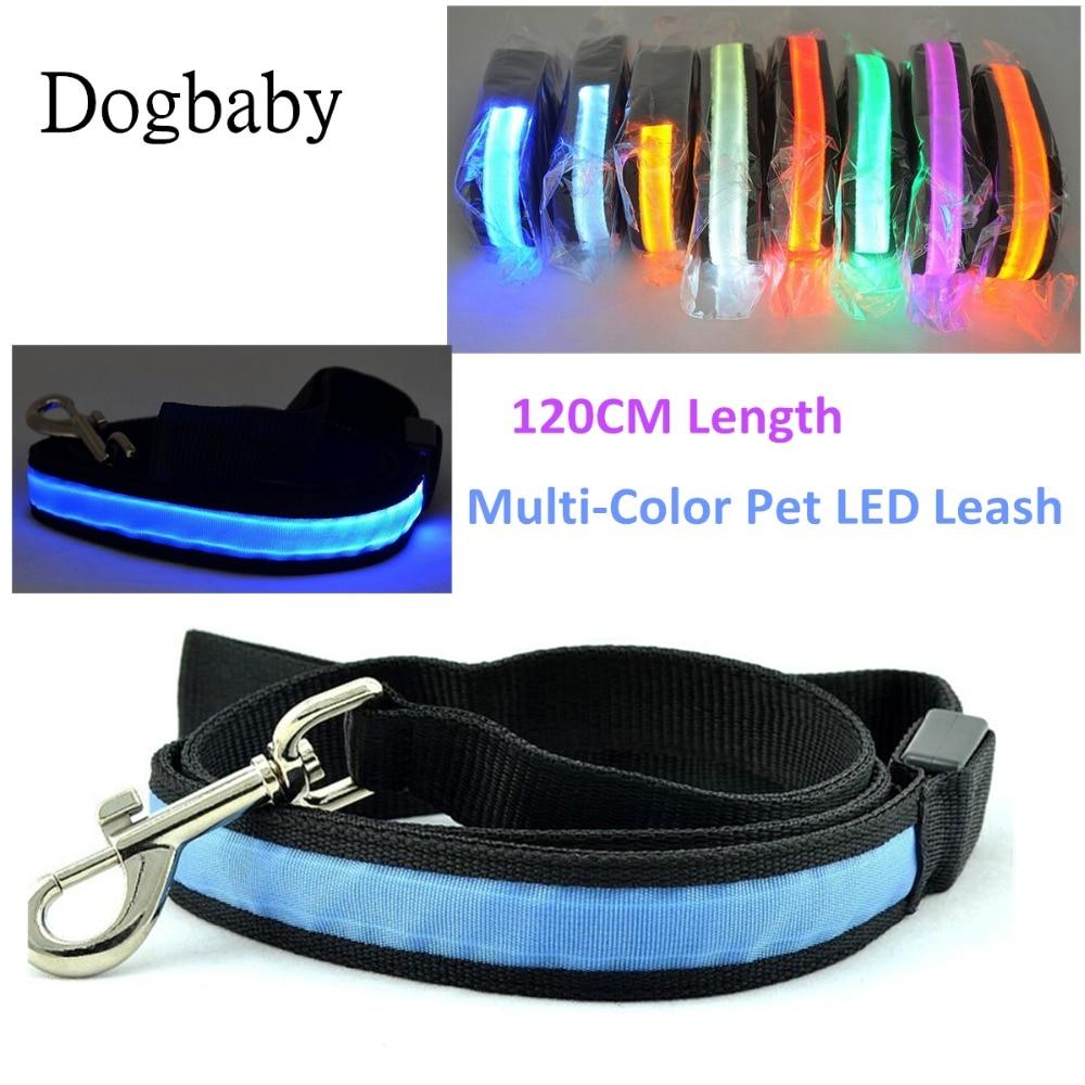 A8 120CM LED Pet Cat Dog LED Leash Safety Glow Leash Flashing Lighting Up 2.5cm Width Good Quality Dog Leash for dog collar