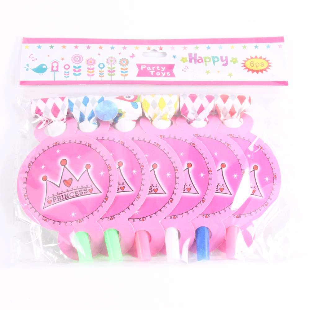 6 pcs/lot Girls 1th Birthday Decoration Blowout Noise Maker Whistle Princess Pink Crown Party Supplies Baby Shower Favors