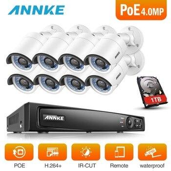 ANNKE 8CH 6MP POE NVR sistema de seguridad con 8 piezas 4mm 4MP 1688*1520 al aire libre impermeable de la visión nocturna cámaras P2P Onvif con HDD