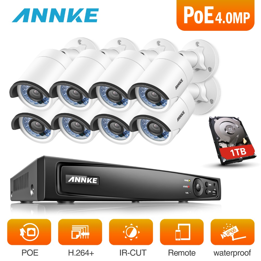 ANNKE 8CH 6MP POE Video Security System With 8pcs 4mm 4MP 1688*1520 Outdoor Weatherproof Night Vision Cameras P2P Onvif NVR KitANNKE 8CH 6MP POE Video Security System With 8pcs 4mm 4MP 1688*1520 Outdoor Weatherproof Night Vision Cameras P2P Onvif NVR Kit