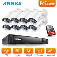 ANNKE 8CH 6MP POE Video Security System With 8pcs 4mm 4MP 1688*1520 Outdoor Weatherproof Night Vision Cameras P2P Onvif NVR Kit