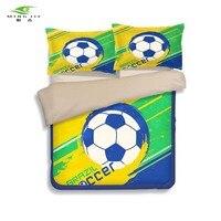 مينغ جيه جديد الاطفال كرة القدم مجموعة مفروشات 3d البرازيل نمط مطبوعة حاف الغطاء ملاءات المخدة التوأم كامل الملكة الحجم