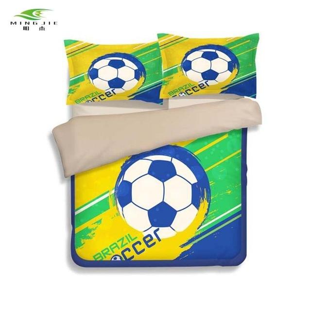 Ming Jie Neue Kinder Fußball Bettwäsche Set 3d Fußball Brasilien