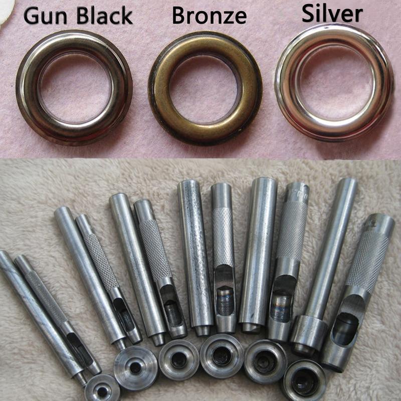 (20 Pcs Metal Eyelets + 1 Tool Set) Bronze, Silver Grommets Eyelet 20mm, 17mm, 14mm, 12mm, 10mm, 8mm, 6mm, 5mm, 4mm, 3mm