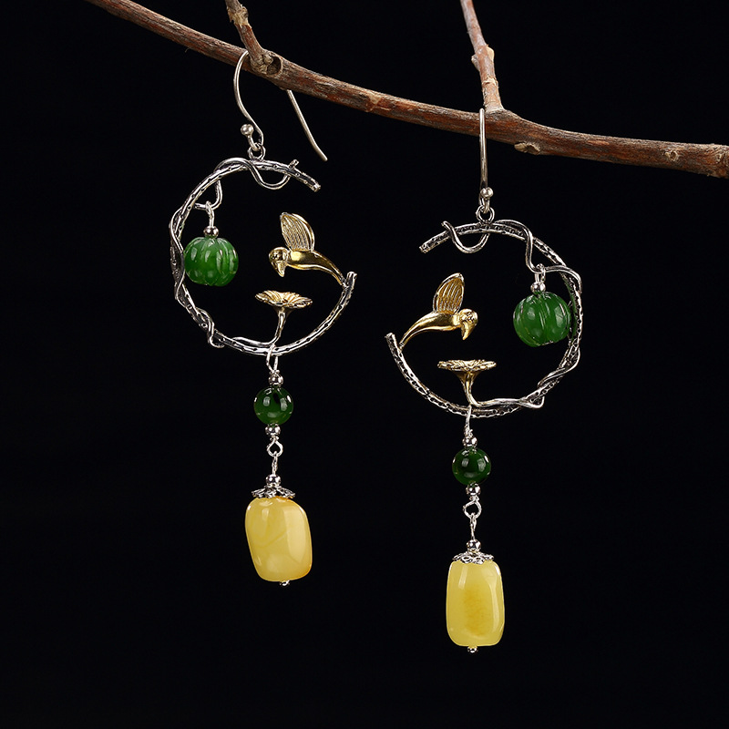 Gold-plated inlaid sterling silver and Tianyu white jade plum ear studs