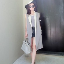 New 2016 Gray White Contrast Colors Long Style Women Suit Vest Feminine Open Stitch Gilet Sleeveless Waistcoat Top femme colete contrast lace open the shoulder top