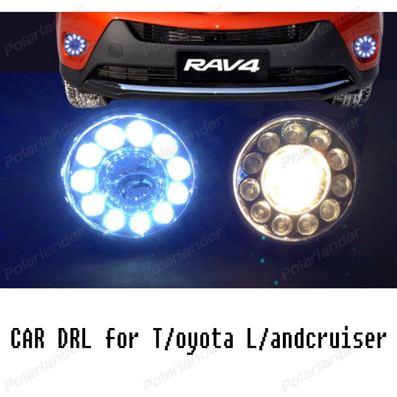 2 pcs car-styling led DRL Daytime Running Light Fog Lamp for T/oyota L/andcruiser F/J200 LC200 Not with fog cover 2012 -2015