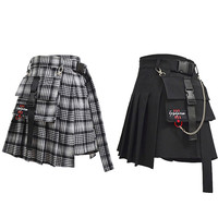 Adomoe Women High Waist Shorts Skirts with Pocket Japan Harajuku Hard Girl Vintage Plaid Irregular Pleated Fashion Mini Skirt