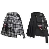 Adomoe Women High Waist Shorts Skirts with Pocket Japan Harajuku Hard Girl Vintage Plaid Irregular Pleated Fashion Mini Skirt