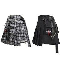 Aomoe женские шорты с высокой талией юбки с карманом Япония Harajuku жесткий девушка Винтаж плед нерегулярные плиссированные модные мини юбки