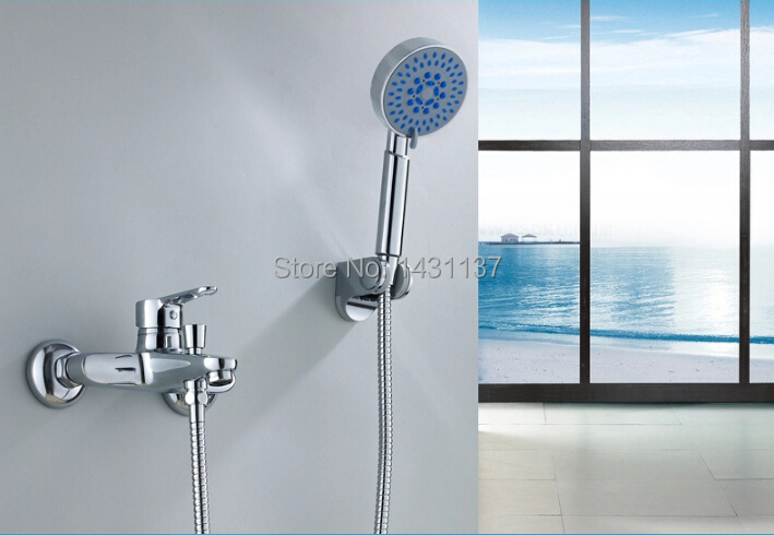 ФОТО factory direct sale high quality Brass Chrome Bathroom Exposed Shower Faucets Wall Mounted shower faucet set