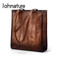 Johnature New Vintage Animal Prints Zipper Solid Bag Versatile Casual Large Leather Tote Women Cow Leather Shoulder&Handbags