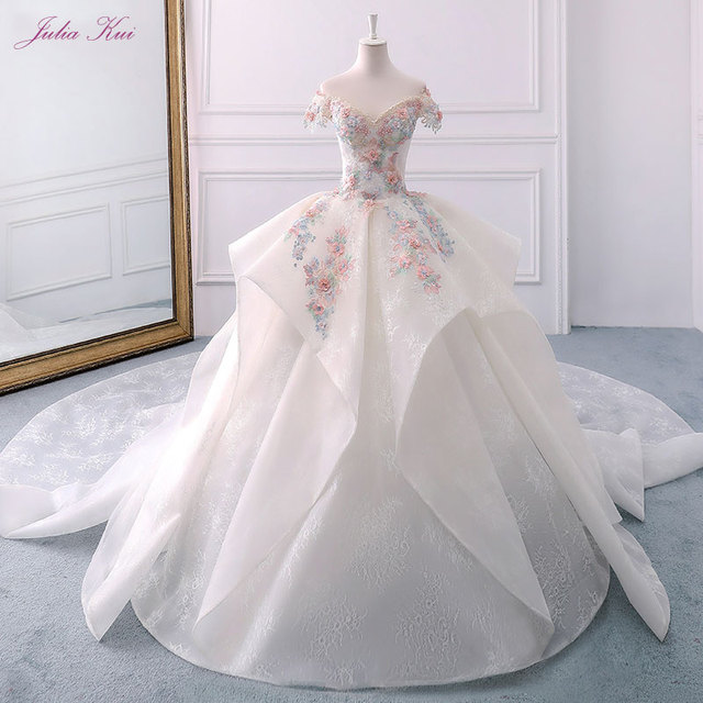 Elegant Lace Sweetheart Appliques Long Beading Crystals Off The Shoulder Lace-Up Ball Gown 3D Flowers Ruffles Wedding Dresses