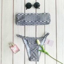 Summer push up new women's bikini set sexy crop top bathing suit white thong swimwear lattice printing swimsuit JY