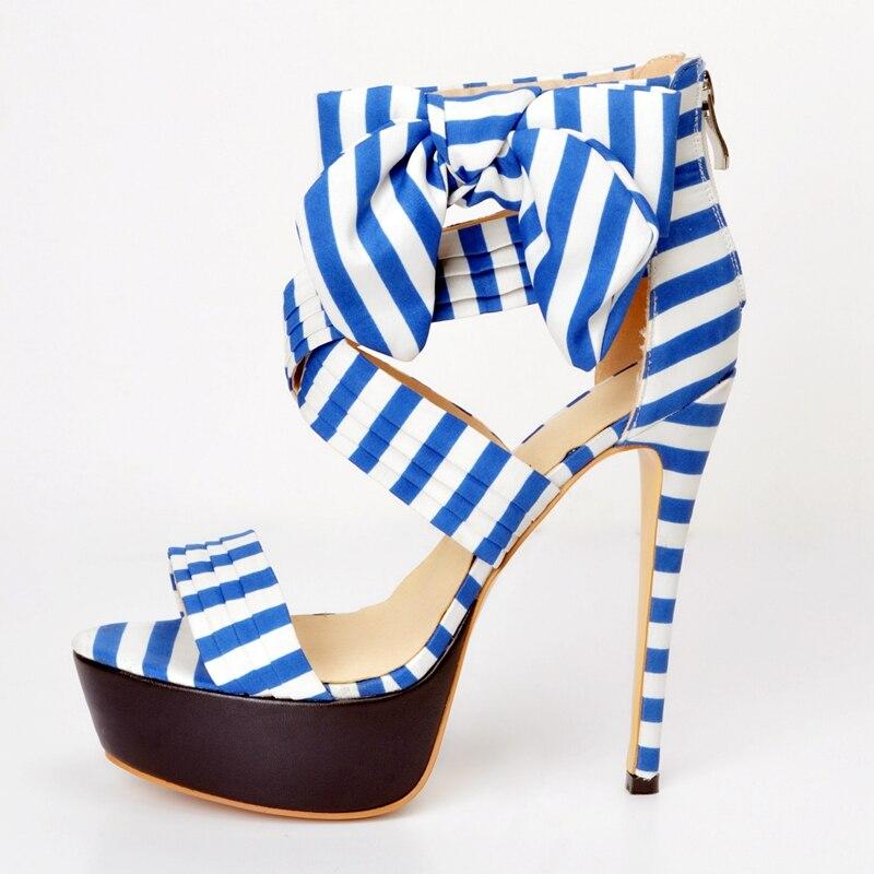 Blue Strips Platform High Heels Sandals For Women Open Toe Shoes Summer Style Gladiator Sandals Women Platform Sandals platform sandals sessa босоножки в греческом стиле