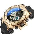 Модные мужские военные спортивные часы  мужские цифровые водонепроницаемые кварцевые часы с двойным дисплеем и большим циферблатом