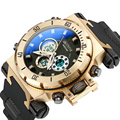 Fashion Männer Military Sport Uhren Herren LED Digital Wasserdicht Quarzuhr Männlichen Große Zifferblatt Dual Display Uhr Relogio Masculino-in Quarz-Uhren aus Uhren bei