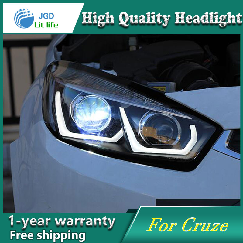 high quality Car styling case for Chevrolet Cruze 2015 Headlights LED Headlight DRL Lens Double Beam HID Xenon Car Accessories hireno headlamp for 2016 hyundai elantra headlight assembly led drl angel lens double beam hid xenon 2pcs