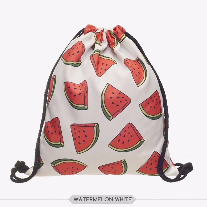 2903d18254 Who Cares 3D Printing Backpack Women White Watermelon Mochila Feminina  daily Fashion Casual Drawstring Bag For Girl