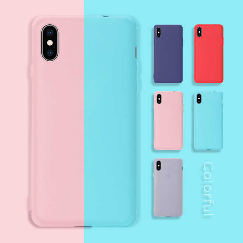 Ultra-thin Color Matte Candy Cover Case For iPhone XS Max XR 6 6S 7 8 Plus 6 6S Plus X Silicon TPU Soft Phone Cases For iPhone X