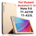 Funda para huawei mediapad t1 10 pu cuero elegante de la cubierta protectora de la tableta de huawei nota 9.6 t1-a21w t1-a23l t1-a21l protector