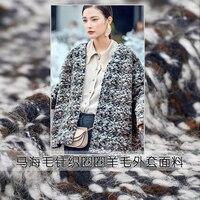150 cm de ancho invierno lana caballito de mar punto de bucle de lana de cachemira tela popular nudo nudo manto tela hombres y mujeres abrigo de paño 480g/m