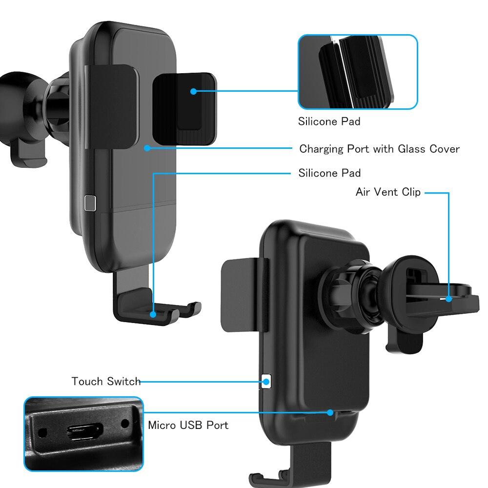 Qi автомобильное беспроводное зарядное устройство для телефона, интеллектуальный автоматический датчик быстрая Беспроводная зарядка Автомобильный держатель для телефона для всех qi-совместимый телефонов