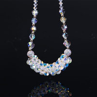 luxury Wedding Party Jewelry Accessories Exquisite Glass Crystal Necklace 925 Sterling Silver Swan Handmade Jewelry Gifts Women