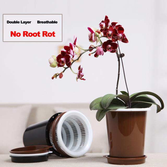 Meshpot Orchid Flower Pot Plastic Double Layer Garden Pot Planter Container,Excellent Drainage,Good Air Movement 12cm/16cm/20cm
