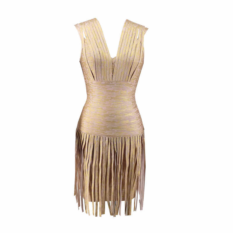 Alta qualidade 2017 folha de ouro v pescoço franja hl bandage vestido preto sexy noite festa vestidos corpo vestido atacado + terno
