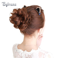 Bynrana Brazilian Hair Remy Hair Curly Human Chignon 5 Colors With Rubber Band Hair Extension Free