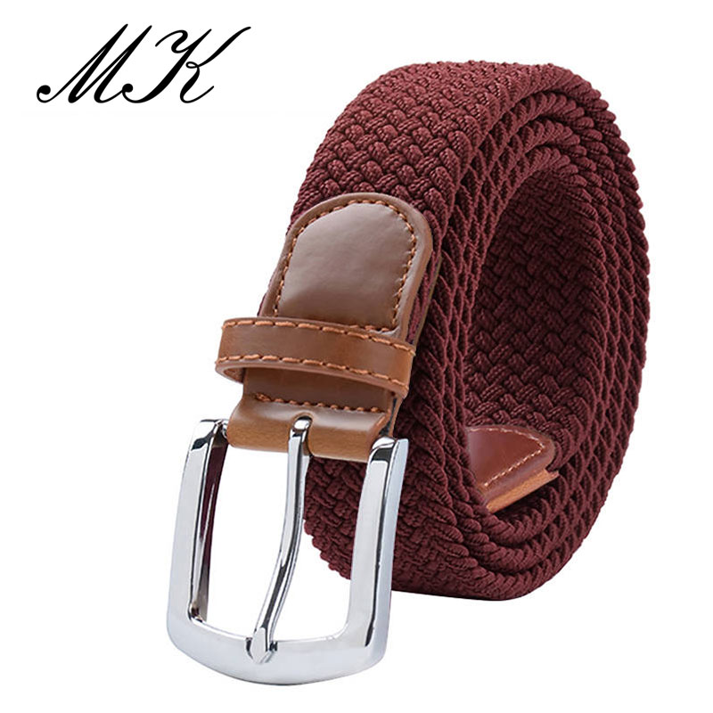 MaiKun мужские ремни с металлической пряжкой булавки эластичный мужской ремень армейский тактический ремень для мужчин - Цвет: Red