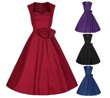 Starlist woman vintage red dress Big Swing Ball Gown Retro Sleeveless Dress Big Bow Hebborn Style Vestido Heart Collar A-Line