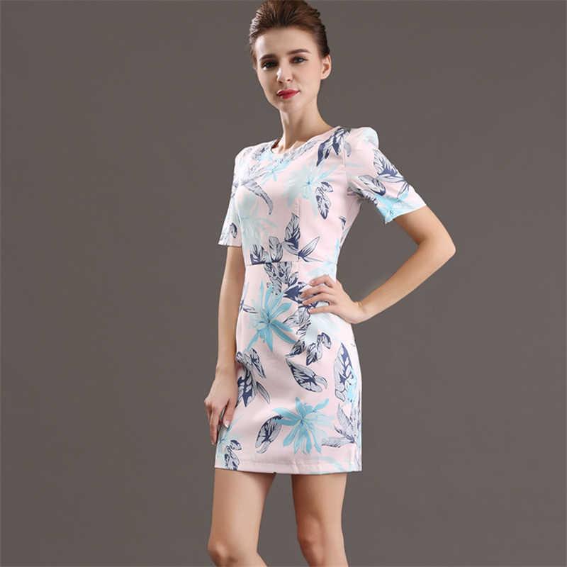 H Хан Queen новый летний Для женщин печати Bodycon платье женский тонкий моды О-образным вырезом Повседневное Офисные наряды карандаш Vestidos