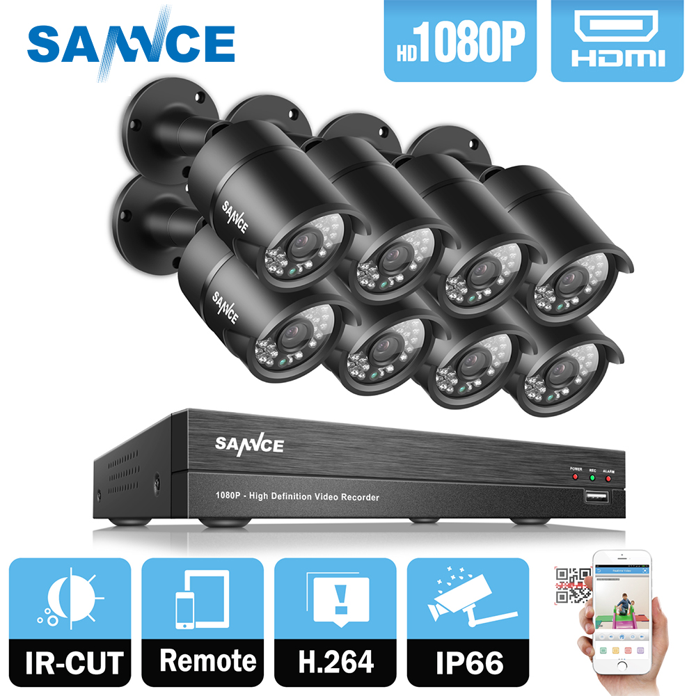 SANNCE 8CH 1080P 2MP CCTV DVR Recorder 8PCS 1080P HD 1920 1080 In Outdoor Security Bullet