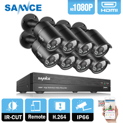 SANNCE 8CH 1080P 2MP CCTV DVR Recorder 4PCS 1080P HD 1920*1080 In/Outdoor Security Bullet Camera System & 1TB HDD Onvif